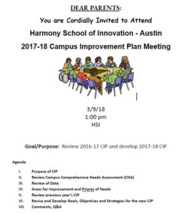 CIP Campus Improvement Plan meeting March 9, 2018 at 1:00pm